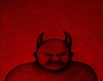 Prints, Devil Art, Wall Art, Demon Art, Art Print, Wall Art Print, Devil Art Print, Demon Art Print, Pen and Ink Drawing, Fine Art, Red Art