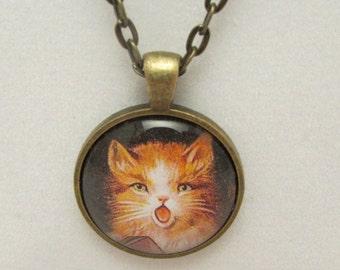 Kitty Cat Necklace, Cat Glass Necklace, Cat Pendant, Cat Glass Pendant, Glass Photo Pendant, Cat Jewelry, Vintage Cat Pendant, Singing Cat
