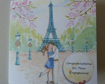 Romantic, Parisian, Eiffel Tower Engagement Card which can be personalised.