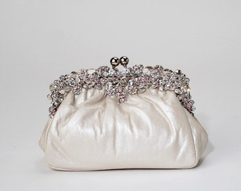 "Swarovski Crystal and leather ""Happily Ever After"" clutch"
