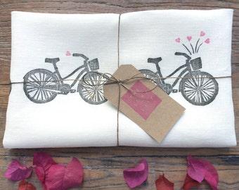 Beach Cruiser Bicycles & Hearts 100% Linen Tea Towel