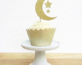 Moon and Star Glitter Cupcake Toppers   Fantasy Party   Celestial Party Decor   Magic Moon and Star Food Picks   (Set of 12)
