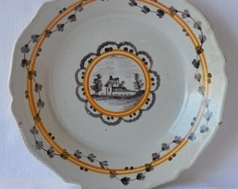 French Antique NEVERS Decorative Plate - 18th.century - House - French Home Decor  - Shabby Chic
