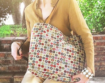Modern upholstery fabric bag with handles check colourful seventies