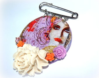 "Bohemian brooch pin ""The Andalusian"" portrait wife-pin pink Crystal and resin-room single"