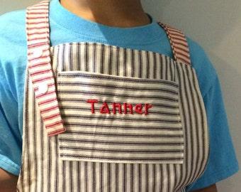 Personalized BBQ Apron | Boys Kitchen Apron | BBQ Apron | Experiment Smock | Art Smock, Reversible Kids Kitchen Apron, Name on Apron