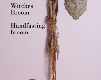 Witches broom, broom, besom, handfasting broom, magic broom, shaman stick, with feathers, charms, crystals, stones,hand made, one of a kind.