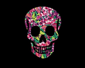 Patterned Vinyl Skull Decal,Sugar Skull, Day of the Dead, Perfect for Car Windows - Tumblers - Notebooks - Phone, Laptop, iPad Cases~