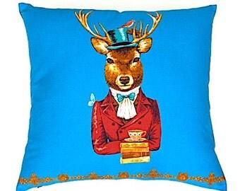 Kid's Deer Pillow Cover. Fun Decorative Deer Pillow. Big Blue Cushion. Woodland Pillow. Deer Pillow for Children. Kid's Birthday Gifts.