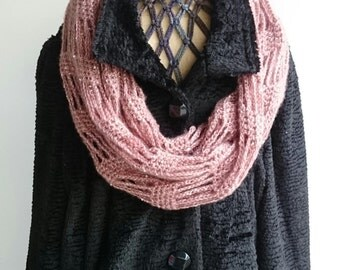 Crochet Infinity Scarf, Lacey Crochet Scarf, Infinity Cowl, Dusty Pink,