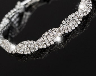 Crystal sparkle bridal delicate bracelet Wedding party jewelry Vintage style Cubic Zirconia minimalist bangle Gift for woman girlfriend mom