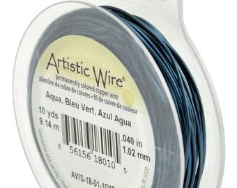 18 Gauge AQUA Tarnish Resistant Artistic Wire (10 Yard Spool)