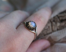 Adjustable Vintage White Fire Opal Crowned Antiqued Sterling Silver Ring, Handmade Gifts, Unique Rings, Promise Ring, True Vintage, Spring