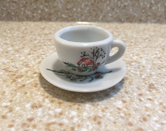 1950s Miniature Tea Cup and Saucer - Hand Painted Red Roof Farm House - Made in Japan - White Porcelain - Cute Ranch