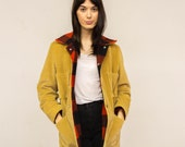 Vintage Unisex Corduroy Chore Coat with Plaid Wool Flannel Lining S Small M Medium 70s Tan Lumberjack Field Jacket w/ Patch Pockets Hunting