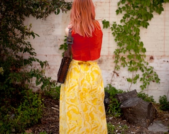 goldenrod embroidered column skirt with velvet trim and bow by loomtogs