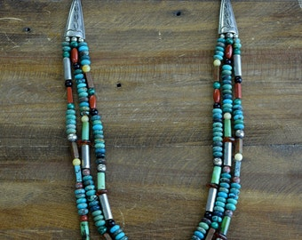 Vintage Navajo Sterling Silver Turquoise and Multi-Stone Bead Three Strand Necklace