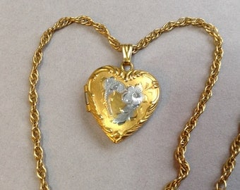 Gold Filled Sterling Silver Heart Locket/Pendant and Chain