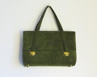 Vintage 80s Moss-Green Suede Handbag/Purse
