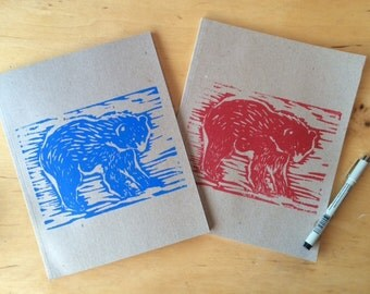Bear Block Print  on a Recycled Note Book