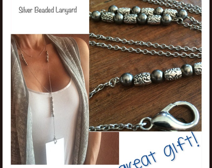 Lanyard Silver Lanyard Coworker Gift under 30 Beaded Lanyard Silver Chain ID Badge Holder Keychain Clip Employee Work Badge Corporate Gifts