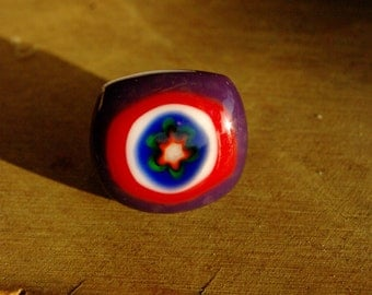 Purple, Red and Blue Flower Fused Glass Ring