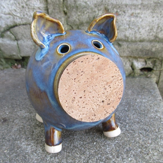 Handmade piggy bank blue piggy bank ceramic piggy bank for Handmade coin bank