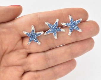 Blue Crystal Silver Starfish Hair Pins Set of 3 Beach Wedding Hair Accessories