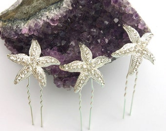 Silver Crystal Rhinestone Starfish Hair Pins Set of 3 Beach Wedding Hair Accessories
