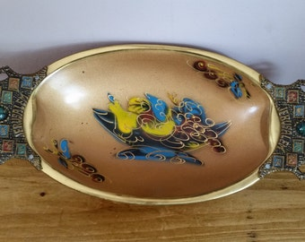 "Vintage Brass Enameled Fruit Bowl Showing The Twelve Tribes Of Israel And The Word ""Jerusalem"". Ornate Jerusalem, Brass Fruit Bowl."