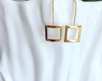 Long Gold Earrings / Geometric Earrings