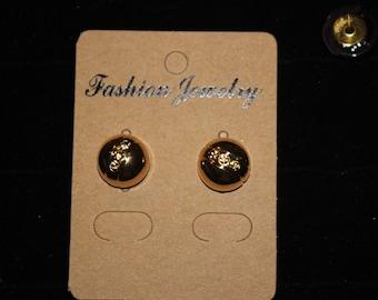 "1/2"" Button earrings, button earrings, button stud earrings, flat back,  Black/Gold"