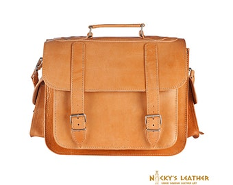 LEATHER LAPTOP BAG -  Laptop Case -15 inches Messenger Bag - Leather Brieface in Light Brown color