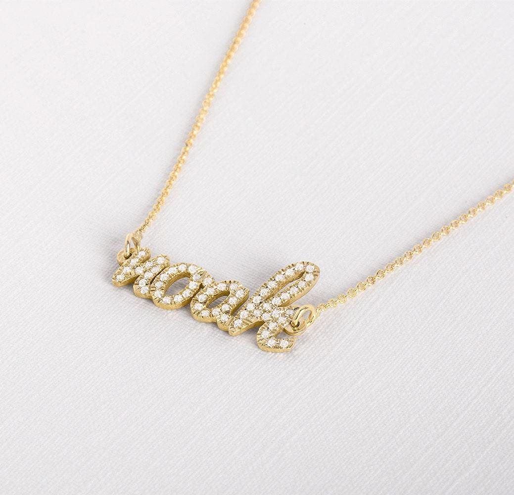 custom name necklace custom diamond necklace by. Black Bedroom Furniture Sets. Home Design Ideas
