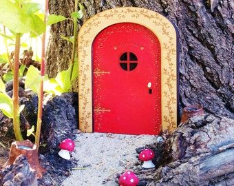 Fairy door fairy garden wooden fairy door by wildflowergardens for Wooden fairy doors to decorate