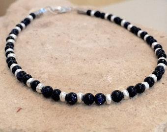 Blue bracelet, blue goldstone bracelet, Hill Tribe silver bracelet, gemstone bracelet, natural bracelet, sundance style bracelet, gift