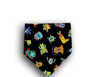 Drool Bib <<Little Monsters>> Neckerchief/Baby/Toddler Bandana/Scarf/Bib//Dark Blue//Black//Green//Orange//Gray