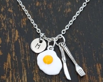 Breakfast Necklace, Egg Necklace, Egg Charm, Egg Pendant, Breakfast Jewelry, Knife Charm, Fork Charm, Chef Necklace, Chef Gift, Food Jewelry