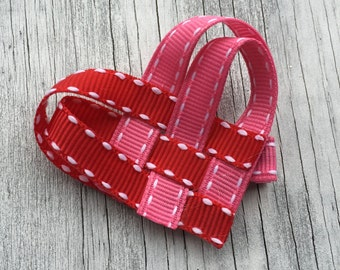 Woven Heart Bow // Valentines Day Bow // Heart Hair Bow // Pink Heart Bow // Red Heart Bow // Woven Heart Headband // Heart Hair Clip // Bow