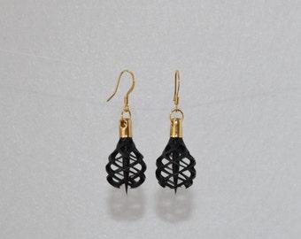 3D Printed Earrings in Black Resin