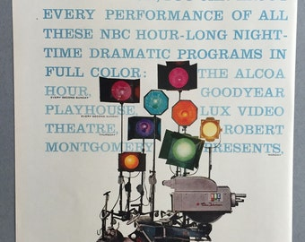 1956 NBC Color Television Double Page Print Ad