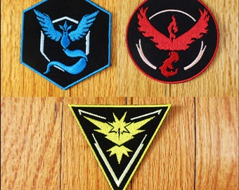 Pokemon Go Patches, Team Valor Patch, Team Instinct Patch, Team Mystic Patch, High Quality Iron On