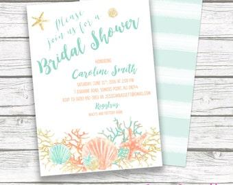 Beach Bridal Shower Invitation, Coral Starfish Bridal Shower Invite, Boho Destination Wedding, Turquoise and Gold Printable Invitation