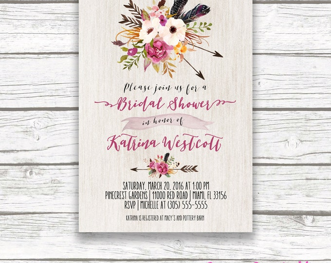 Boho Arrow Wood Bridal Shower Invitation, Tribal Watercolor Floral Invite, Burgundy Marsala Pink Southwestern Bohemian, Printed Printable