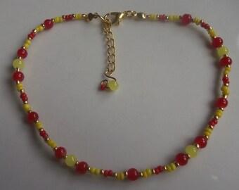 Beaded anklet, ankle bracelet, stretch anklet, glass beaded anklet, beach jewellery, beach anklet, seed bead anklet, red yellow anklet