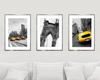 New York Print Set, New York City Wall Art, City Art Print Set, Set of 3 Prints, NYC Print, NYC Wall Decor, Brooklyn Bridge, Yellow Cabs Art