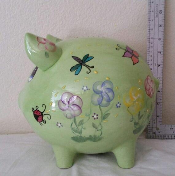 Extra large personalized piggybank green piggy bank flowers - Extra large ceramic piggy bank ...