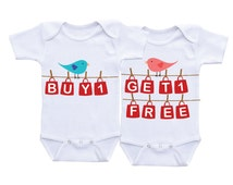 Buy One Get One Free Funny Twin Onesies Twin Matching Outfit,Twin baby gifts,Twin Outfits,Twin baby Onesies,Twin Baby shower gifts