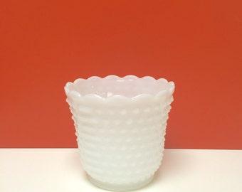 Fire King Milk Glass Hobnail Cache Pot Vase