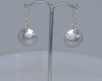 Textured Aluminium Domed Disc Earrings
